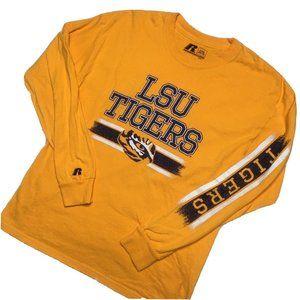 LSU Tigers Boys Large 10 12 Long Sleeve Yellow Top